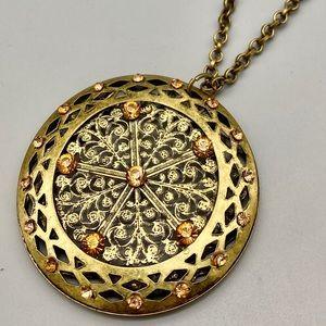 Antique bronze medallion necklace